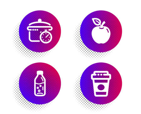 Boiling pan, Water bottle and Apple icons simple set. Halftone dots button. Takeaway coffee sign. Cooking timer, Soda drink, Fruit. Latte drink. Food and drink set. Vector Archivio Fotografico - 133849964