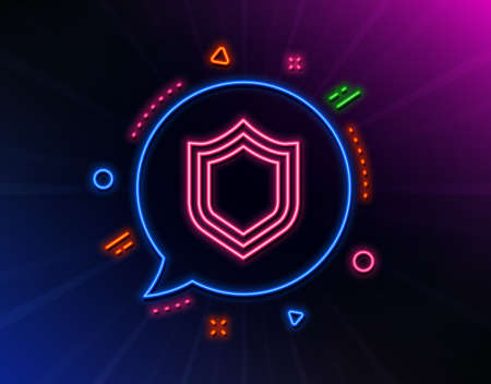 Shield line icon. Neon laser lights. Protection or Security sign. Defence or Guard symbol. Glow laser speech bubble. Neon lights chat bubble. Banner badge with security icon. Vector