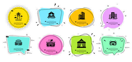 Arena stadium, Lighthouse and Buildings line icons set. Chat bubbles with quotes. Sports stadium, Court building and Circus tent signs. Skyscraper buildings, Arena symbols. Vector Illusztráció