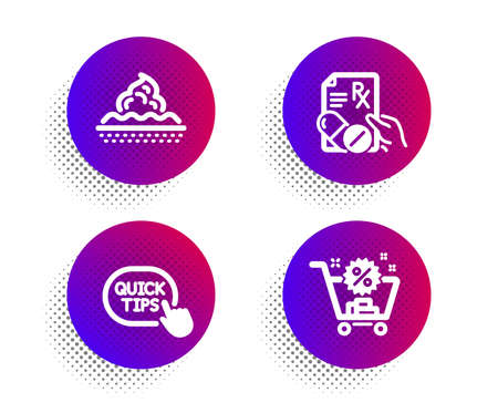 Prescription drugs, Quick tips and Skin care icons simple set. Halftone dots button. Shopping cart sign. Pills, Helpful tricks, Face cream. Discount. Business set. Vector