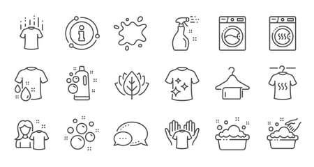 Waslijn pictogrammen. Droger, wasmachine en vuilshirt. Handen wassen, wasservice pictogrammen. Lineaire reeks. Kwaliteit lijn set. Vector