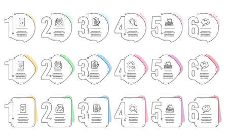 Typewriter, Mail correspondence and Rfp line icons set. Infographic timeline. Checked file, Recovery data and Search signs. Instruction, E-mail newsletter, Request for proposal. Vector
