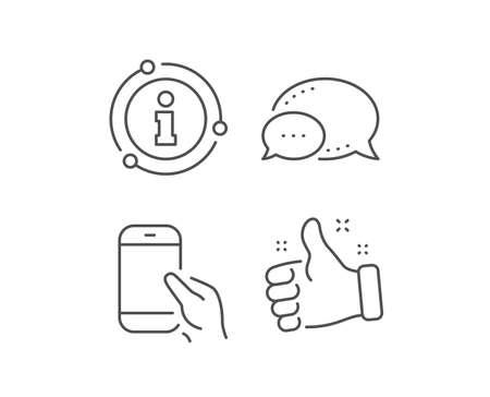 Tenere l'icona dello smartphone. Bolla di chat, elementi del segno di informazioni. Dai il segno del cellulare o del telefono. Communication Simbolo del dispositivo mobile. Icona di contorno di Smartphone attesa lineare. Bolla di informazioni. Vettore