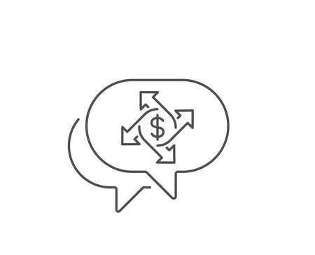 Payment exchange line icon. Chat bubble design. Dollar sign. Finance transfer symbol. Outline concept. Thin line payment exchange icon. Vector Ilustrace