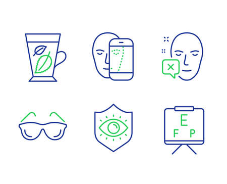 Face biometrics, Eyeglasses and Face declined line icons set. Eye protection, Mint leaves and Vision board signs. Facial recognition, Optometry, Identification error. Mentha leaf. Vector