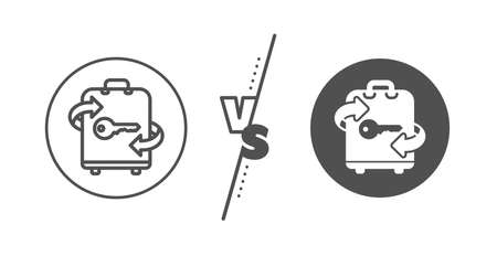 Baggage Locker sign. Versus concept. Luggage room line icon. Travel service symbol. Line vs classic luggage icon. Vector 向量圖像