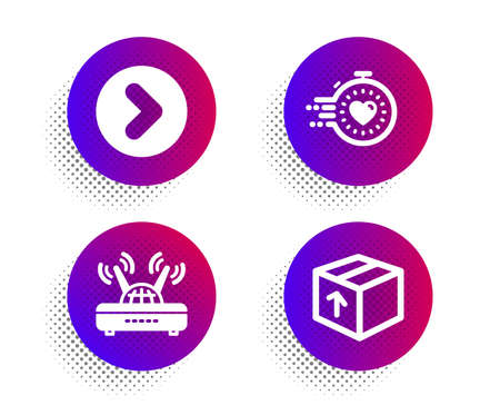 Timer, Forward and Wifi icons simple set. Halftone dots button. Package sign. Deadline management, Next direction, Internet router. Delivery pack. Business set. Classic flat timer icon. Vector