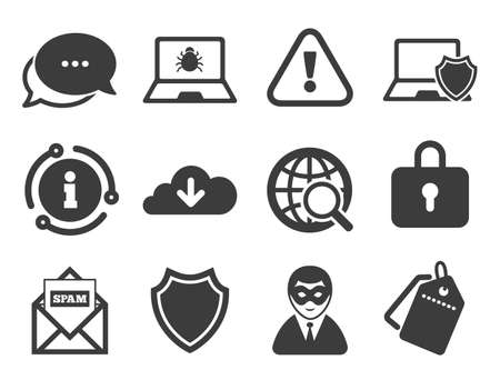 Cyber crime signs. Discount offer tag, chat, info icon. Internet privacy icons. Virus, spam e-mail and anonymous user symbols. Classic style signs set. Vector 向量圖像