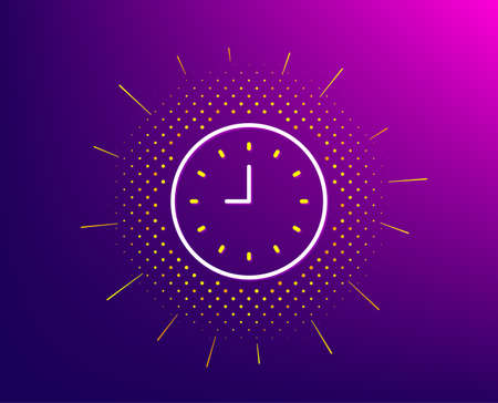 Clock line icon. Halftone pattern. Time sign. Office Watch or Timer symbol. Gradient background. Clock line icon. Yellow halftone pattern. Vector 向量圖像
