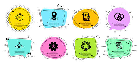 Slow fashion, Cogwheel and Report line icons set. Chat bubbles with quotes. Service, Organic tested and Euler diagram signs. Location, Timer symbols. Eco tested, Idea bulb. Science set. Vector