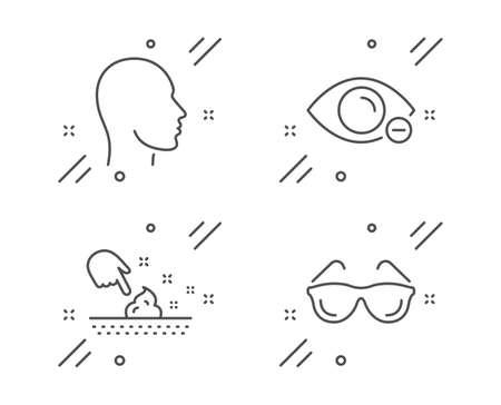 Head, Myopia and Skin moisture line icons set. Eyeglasses sign. Human profile, Eye vision, Wet cream. Optometry. Medical set. Line head outline icon. Vector