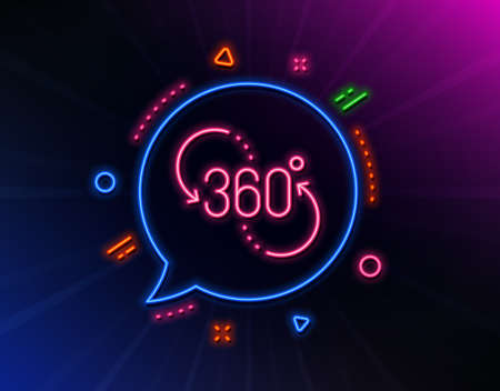 360 degree line icon. Neon laser lights. VR technology simulation sign. Panoramic view symbol. Glow laser speech bubble. Neon lights chat bubble. Banner badge with 360 degree icon. Vector