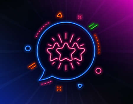 Star line icon. Neon laser lights. Feedback rating sign. Customer satisfaction symbol. Glow laser speech bubble. Neon lights chat bubble. Banner badge with star icon. Vector Ilustrace