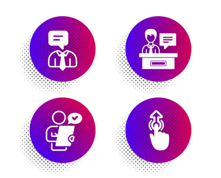 Customer survey, Exhibitors and Support service icons simple set. Halftone dots button. Swipe up sign. Contract, Information desk, Human talking. Touch technology. People set. Vector