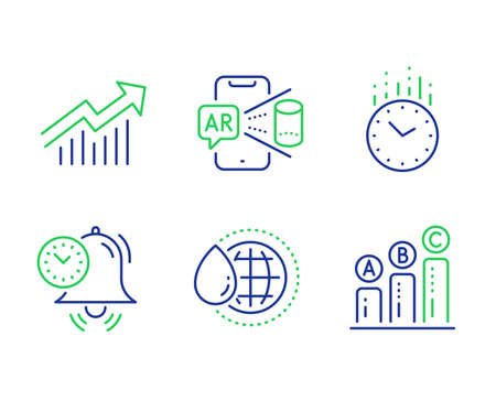 Time management, World water and Time line icons set. Demand curve, Augmented reality and Graph chart signs. Alarm clock, Aqua drop, Clock. Statistical report. Science set. Vector