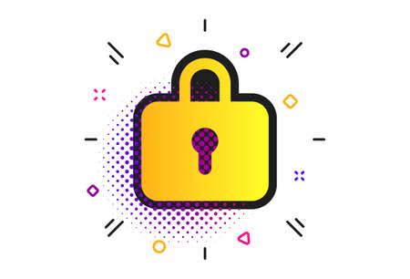 Lock sign icon. Halftone dots pattern. Locker symbol. Classic flat lock icon. Vector 向量圖像