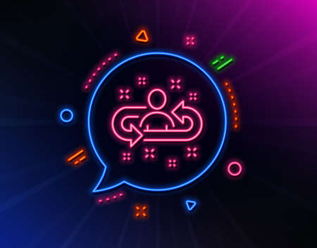 Recruitment line icon. Neon laser lights. Business management sign. Employee or human resources symbol. Glow laser speech bubble. Neon lights chat bubble. Banner badge with recruitment icon. Vector