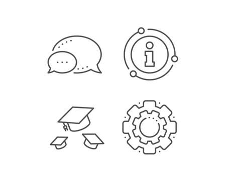 Graduation caps line icon. Chat bubble, info sign elements. Education sign. Student hat symbol. Linear throw hats outline icon. Information bubble. Vector