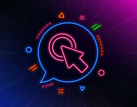 Click here line icon. Neon laser lights. Push the button sign. Web cursor symbol. Glow laser speech bubble. Neon lights chat bubble. Banner badge with click here icon. Vector