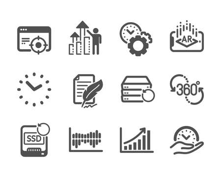 Set of Science icons, such as Time, Column diagram, Time management, Seo targeting, Augmented reality, Feather signature, Recovery ssd, Recovery server, Employee results, Graph chart. Vector
