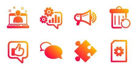 Recovery trash, Best manager and Like line icons set. Cogwheel, Strategy and Messenger signs. Megaphone, File management symbols. Backup file, Best developer. Technology set. Vector