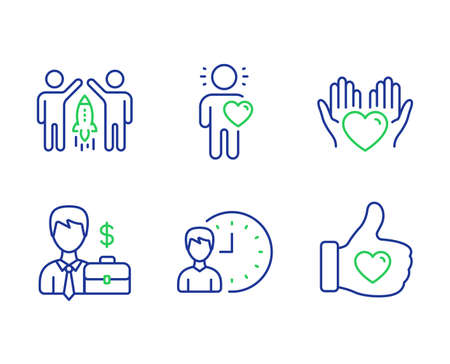 Businessman case, Working hours and Friend line icons set. Hold heart, Partnership and Like hand signs. Human resources, Project deadline, Love. Care love. People set. Vector 向量圖像