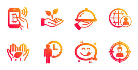 Waiting, Helping hand and Fair trade line icons set. Yummy smile, International recruitment and Restaurant food signs. Bitcoin pay, Headhunting symbols. Service time, Startup palm. Vector