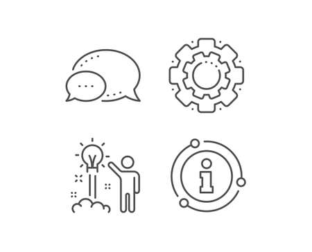 Creative idea line icon. Chat bubble, info sign elements. Human launch startup sign. Inspiration symbol. Linear creative idea outline icon. Information bubble. Vector