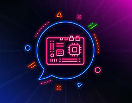 Motherboard line icon. Neon laser lights. Computer component hardware sign. Glow laser speech bubble. Neon lights chat bubble. Banner badge with motherboard icon. Vector