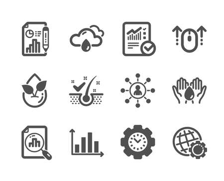 Set of Science icons, such as Checked calculation, Report document, Globe, Diagram graph, Time management, Networking, Analytics graph, Organic product, Rainy weather, Safe water, Swipe up. Vector