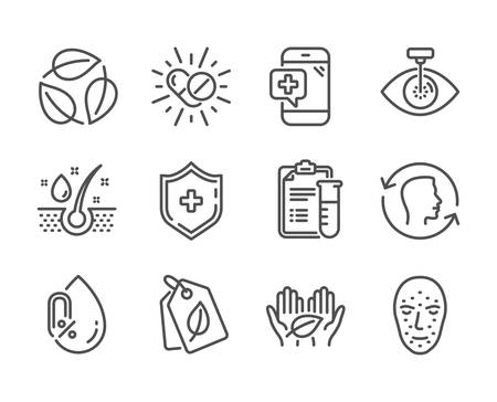 Set of Healthcare icons, such as Face biometrics, No alcohol, Serum oil, Medical shield, Fair trade, Face id, Medical drugs, Bio tags, Eye laser, Leaves line icons. Face biometrics icon. Vector 向量圖像