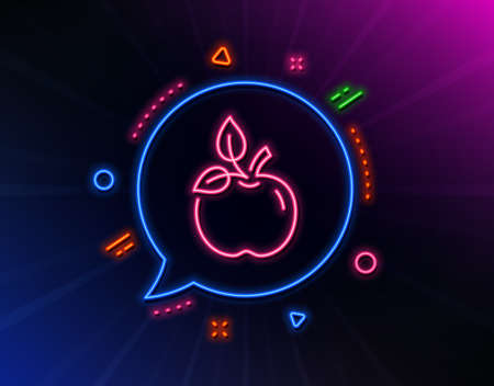 Eco food line icon. Neon laser lights. Organic tested sign. Fair trade symbol. Glow laser speech bubble. Neon lights chat bubble. Banner badge with eco food icon. Vector