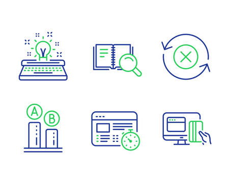 Typewriter, Web timer and Ab testing line icons set. Reject refresh, Search book and Online payment signs. Inspiration, Online test, Test chart. Update rejection. Technology set. Vector 向量圖像