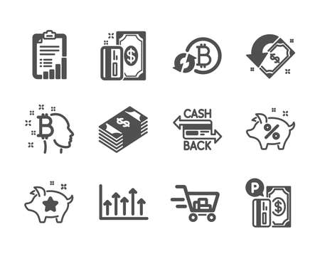Set of Finance icons, such as Bitcoin think, Payment, Shopping cart, Loyalty points, Parking payment, Checklist, Cashback, Usd currency, Refresh bitcoin, Growth chart, Loan percent. Vector 向量圖像