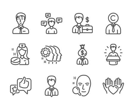Set of People icons, such as Hold heart, Businessman, Conversation messages, Employees teamwork, Face search, Nurse, Businessman case, Manager, Copyrighter, Brand ambassador, Like. Vector