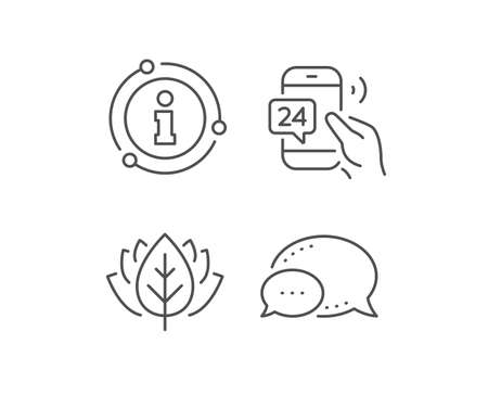 24 hour service line icon. Chat bubble, info sign elements. Call support sign. Feedback chat symbol. Linear 24h service outline icon. Information bubble. Vector