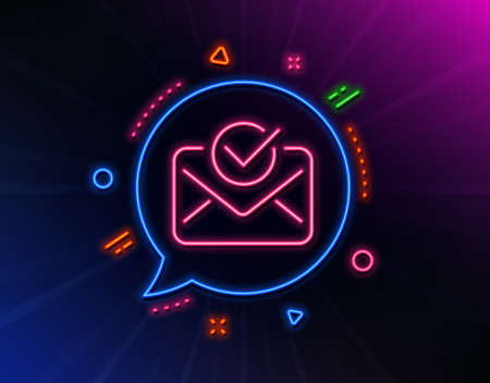 Approved mail line icon. Neon laser lights. Accepted or confirmed sign. Document symbol. Glow laser speech bubble. Neon lights chat bubble. Banner badge with approved mail icon. Vector