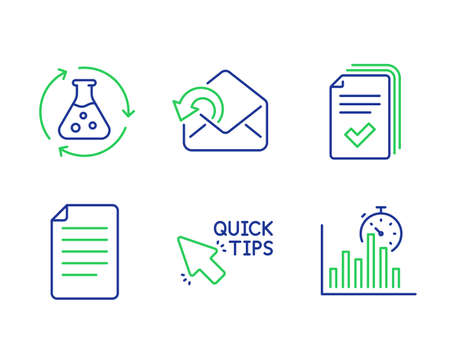 Handout, Quick tips and Chemistry experiment line icons set. Send mail, File and Report timer signs. Documents example, Helpful tricks, Laboratory flask. Sent message. Education set. Vector Illusztráció