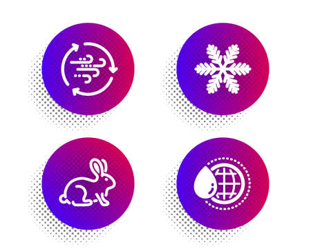 Snowflake, Animal tested and Wind energy icons simple set. Halftone dots button. World water sign. Air conditioning, Bio product, Breeze power. Aqua drop. Nature set. Vector Archivio Fotografico - 133837615