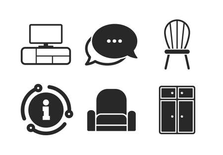 Cupboard, chair and TV table signs. Chat, info sign. Furniture icons. Modern armchair symbol. Classic style speech bubble icon. Vector Ilustração