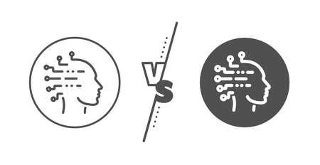 Ai head sign. Versus concept. Artificial intelligence line icon. Robotic intellect symbol. Line vs classic artificial intelligence icon. Vector 向量圖像