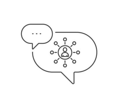 Business networking line icon. Chat bubble design. Teamwork or Human resources sign. Outline concept. Thin line networking icon. Vector Illustration