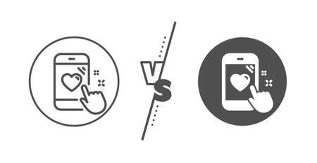 Feedback phone sign. Versus concept. Heart rating line icon. Customer satisfaction symbol. Line vs classic heart rating icon. Vector
