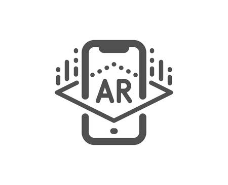 VR simulation sign. Augmented reality phone icon. 3d view symbol. Classic flat style. Simple augmented reality icon. Vector