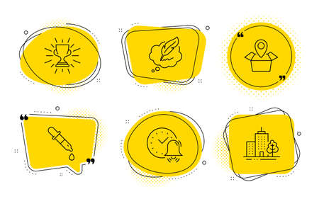 Chemistry pipette, Package location and Skyscraper buildings signs. Chat bubbles. Trophy, Copyright chat and Alarm bell line icons set. Winner cup, Speech bubble, Time. Laboratory. Vector
