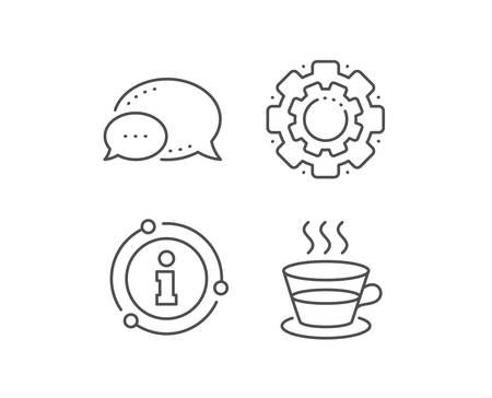 Coffee and Tea line icon. Chat bubble, info sign elements. Hot drink sign. Fresh beverage symbol. Linear coffee cup outline icon. Information bubble. Vector Ilustracja