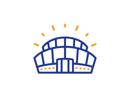 Arena sign. Sports stadium line icon. Sport complex symbol. Colorful outline concept. Blue and orange thin line sports stadium icon. Vector
