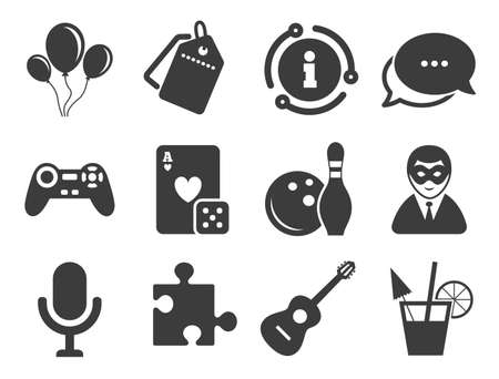 Entertainment signs. Discount offer tag, chat, info icon. Game, bowling and puzzle icons. Casino, carnival and alcohol cocktail symbols. Classic style signs set. Vector