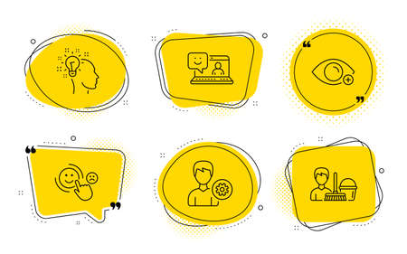 Support, Idea and Cleaning service signs. Chat bubbles. Farsightedness, Smile and Customer satisfaction line icons set. Eye vision, Laptop feedback, Happy smile. Edit profile. People set. Vector