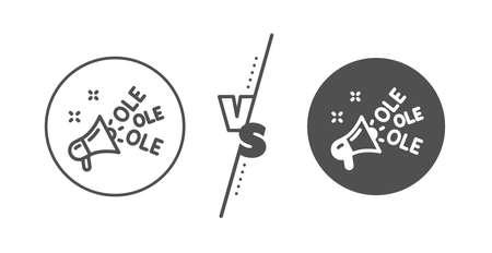 Championnat avec signe mégaphone. Versus concept. Icône de ligne de chant Ole. Symbole d'événement sportif. Ligne vs icône classique de chant ole. Vecteur